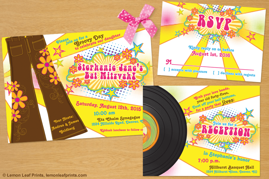 70s Disco Bat Mitzvah Invitation Set - My Jewish Party