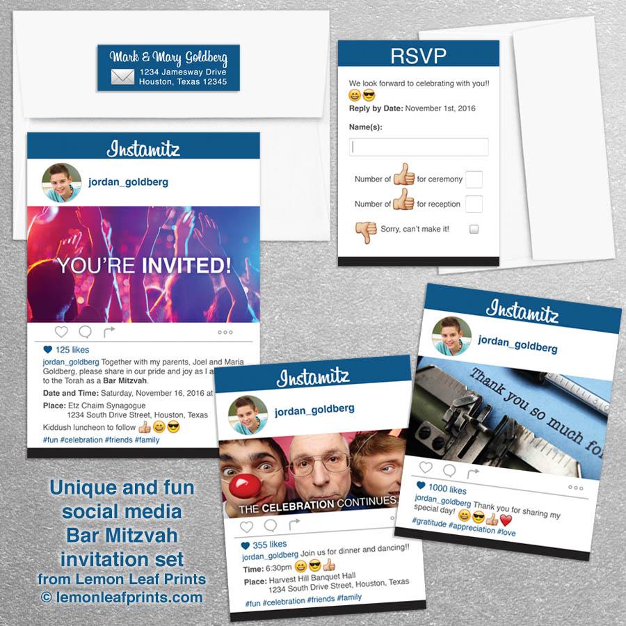 social media photo sharing bar mitzvah invitation set