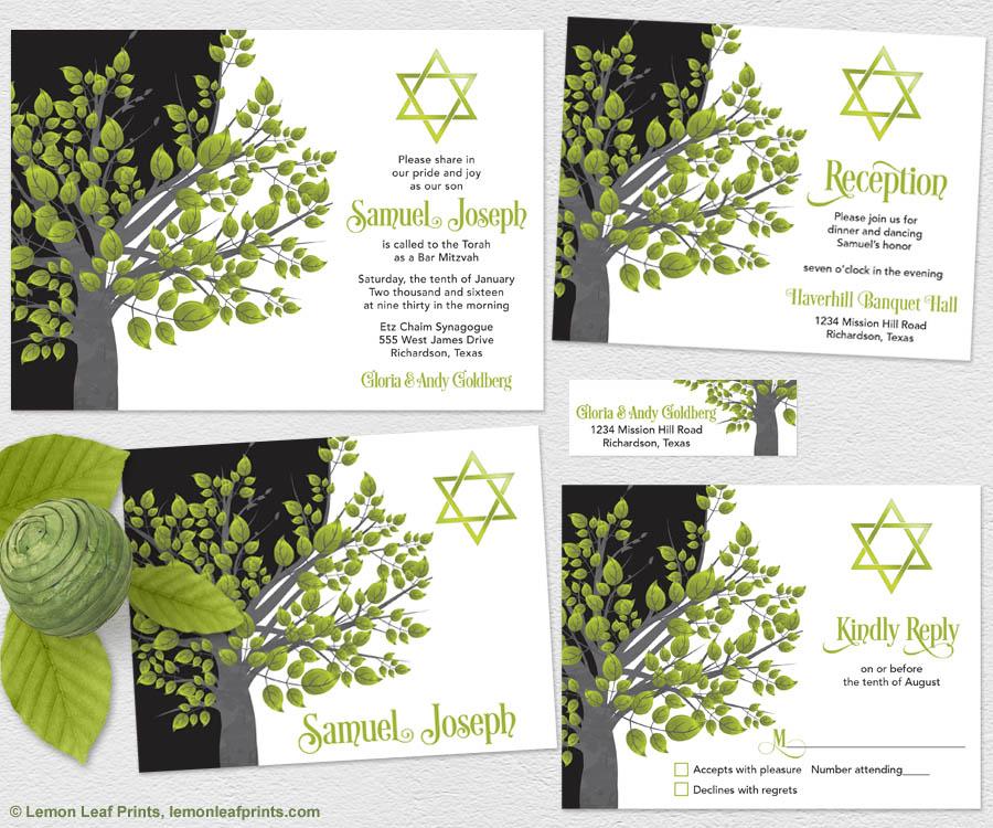 Green and Black Tree of Life Bar Mitzvah Invitation Set