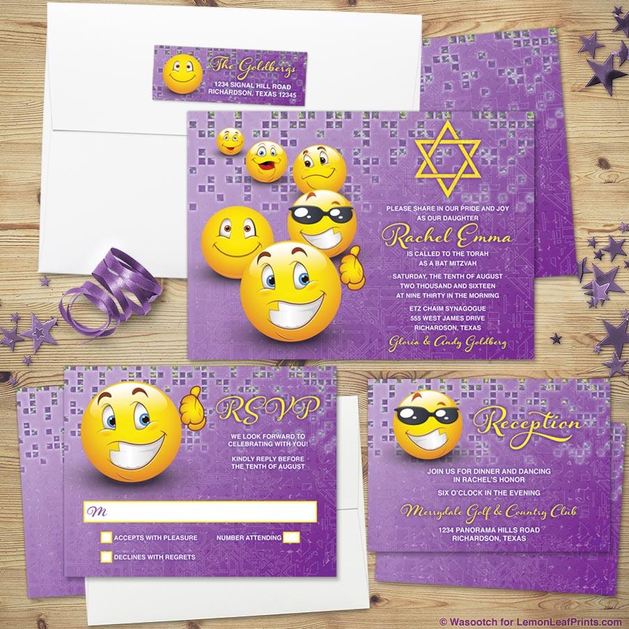 social media emoji bat mitzvah invitation set