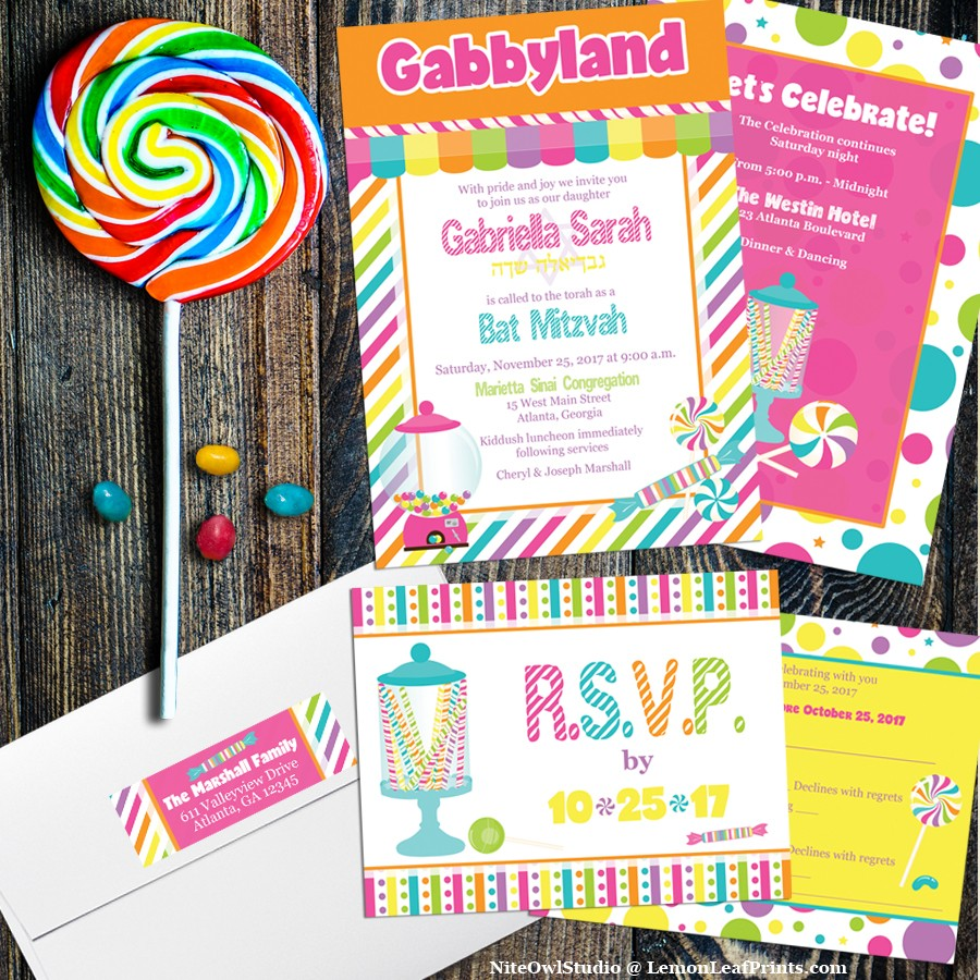 Candyland Candy Themed Bat Mitzvah Invitation Set